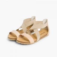 Sandales en cuir et brides élastiques croisées Beige