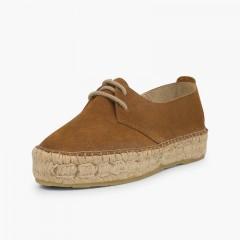 Chaussures blucher fille et femme plateforme jute Camel