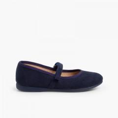 Chaussures fille en serratex avec à scratch Bleu marine