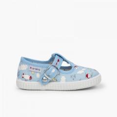 Chaussures salomé toile imprimé fermeture bouton Ciel clair