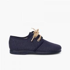 Chaussures blucher en toile avec lacets rustiques Bleu marine