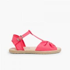 Sandales Plates pour Fille en Jute Rose