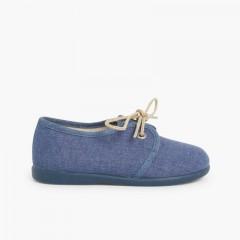 Chaussures Blucher garçon en toile Bleu