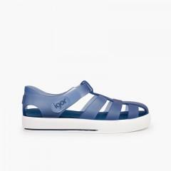 Sandales de plage avec du à scratch de type tennis Bleu marine