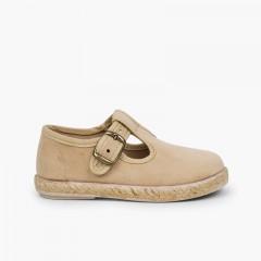 Chaussures salomé boucle bamara et jute Beige