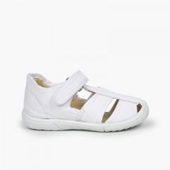 Chaussures salomé sandale à scratch garçon bout renforcé Blanc