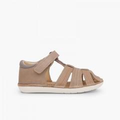 Sandales en cuir pour garçon avec du à scratch Taupe