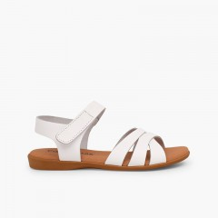 Sandale fille cuir bandes croisées fermeture à scratch Blanc