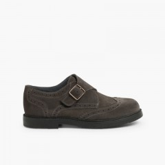 Chaussure Blucher Cuir Boucle  Gris