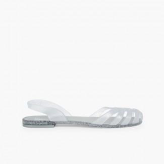 Sandales Plastique Femme Paris Argent