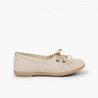 Chaussures blucher fille en lin façon escarpins   Beige