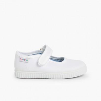 Chaussures Babies Fille à scratch style basket Blanc