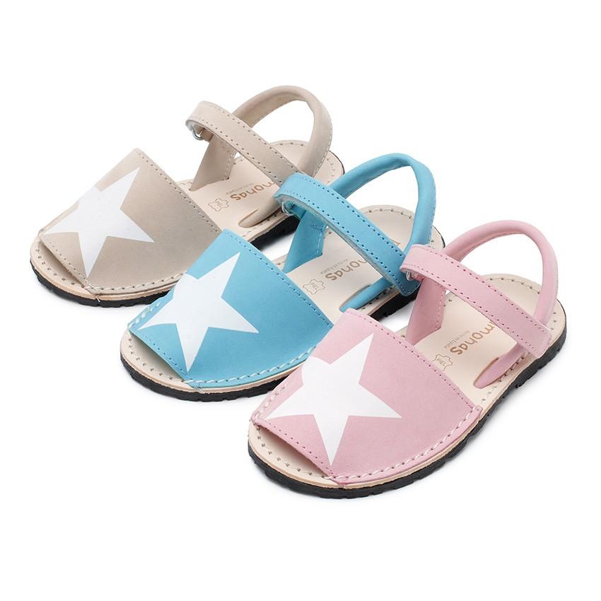 Sandales Avarcas Enfants Nubuck avec Étoile et à scratch