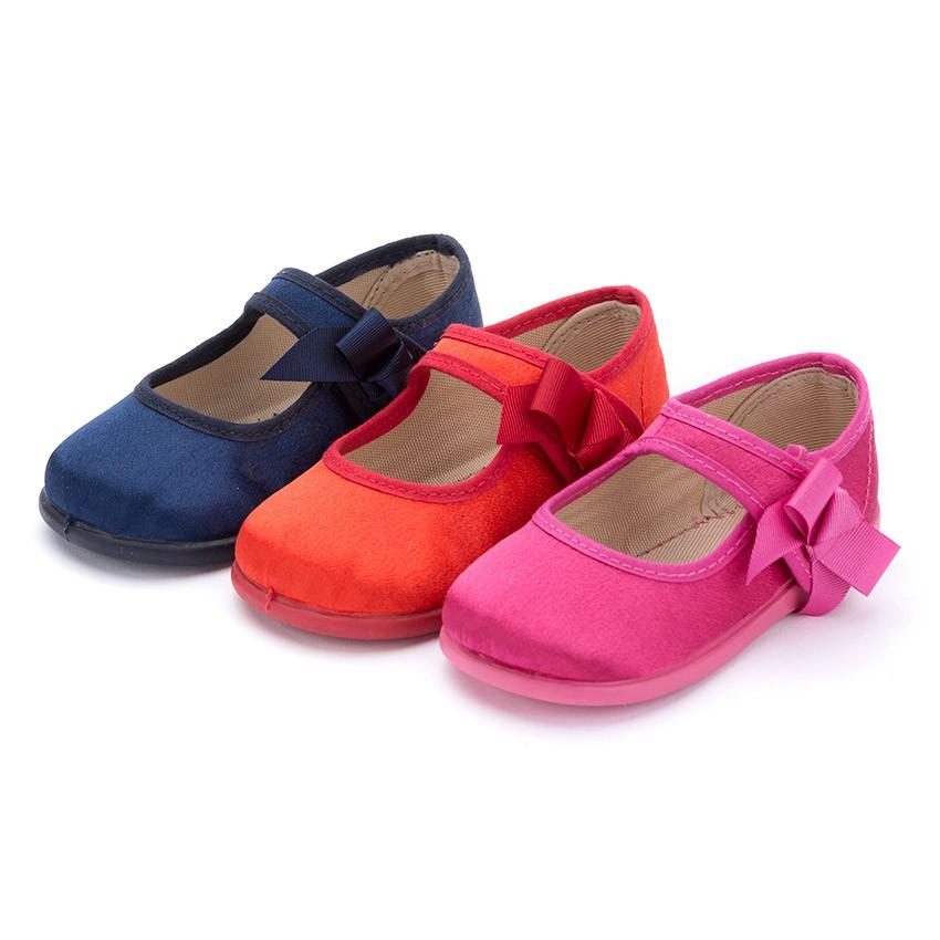 Chaussures Babies Satin à scratch pour Fille