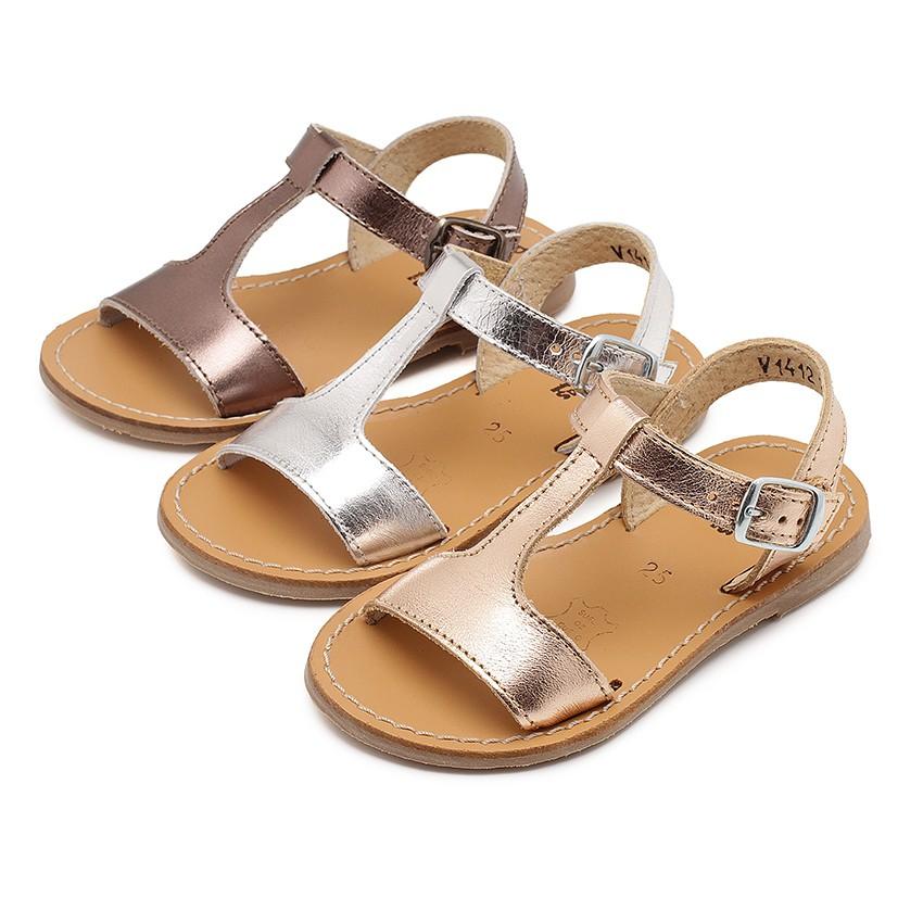 Sandales cuir lisse Métallisées