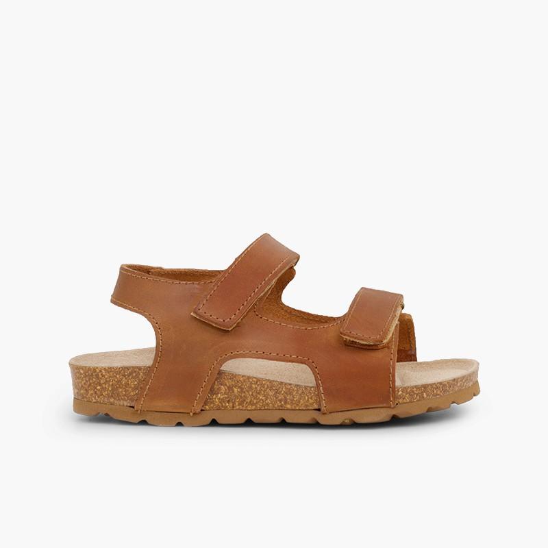 Sandales en cuir bio pour enfant double à scratch