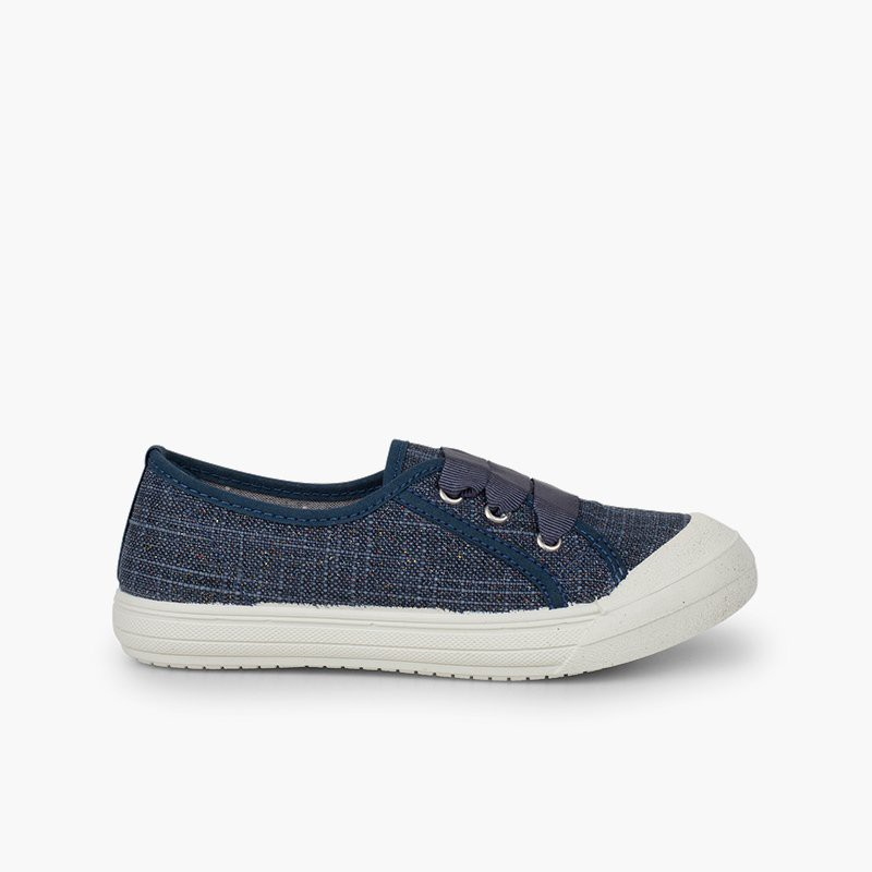 Baskets lin paillettes fille