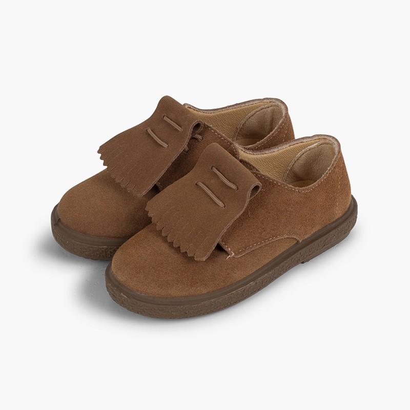 Chaussures blucher en suède à franges lisses