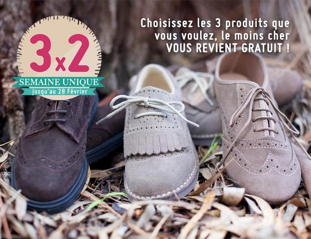3x2 Chaussures Blucher