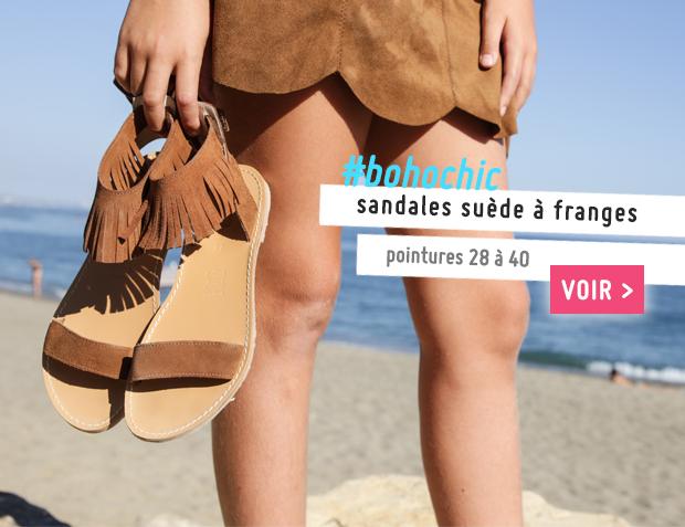 Sandales fille en suède à franges Collection Printemps Été 2017